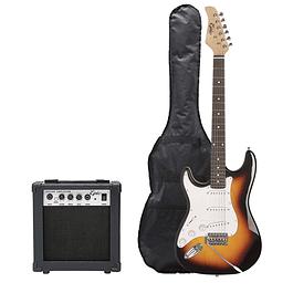 Pack Guitarra Eléctrica Zurdo Café