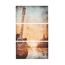Canvas Decorativo Guitarra Paisaje