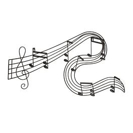 Decoraciòn Metálica Pared Negra Nota Musical