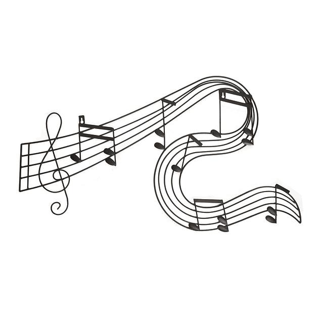 Decoración Metálica Pared Negra Nota Musical