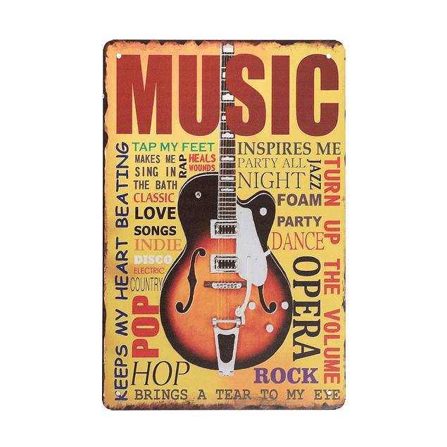 Cuadro Metálico Vintage Guitarra Mod 2.