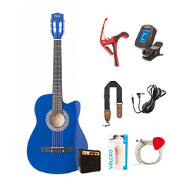 Pack Guitarra Electroacústica Principiante Azul