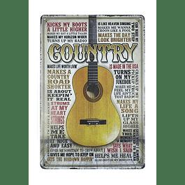 Cuadro Metálico Vintage Guitarra Country