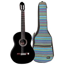 Guitarra Clásica Negra con Bolso Acolchado