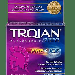 Condón Trojan Fuego y Hielo Pack X3