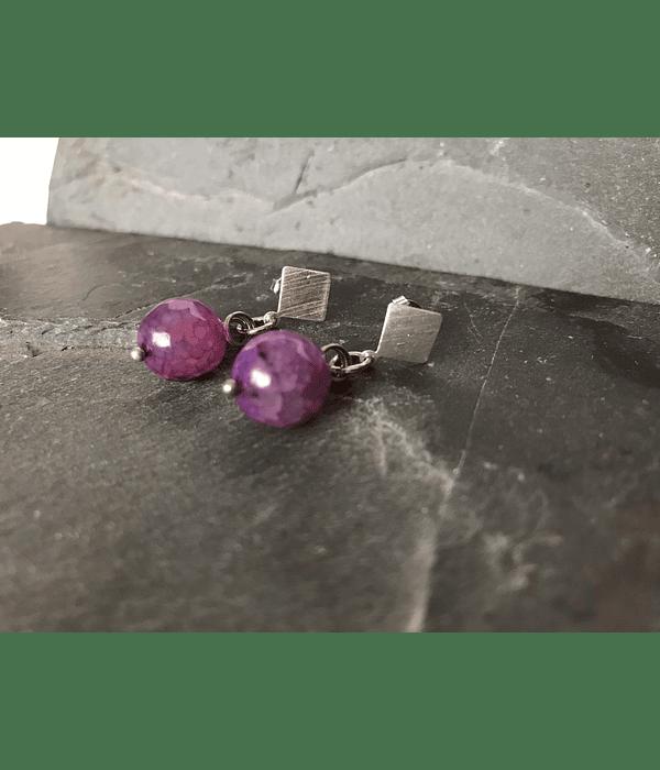 Aros de plata con Agata Morada