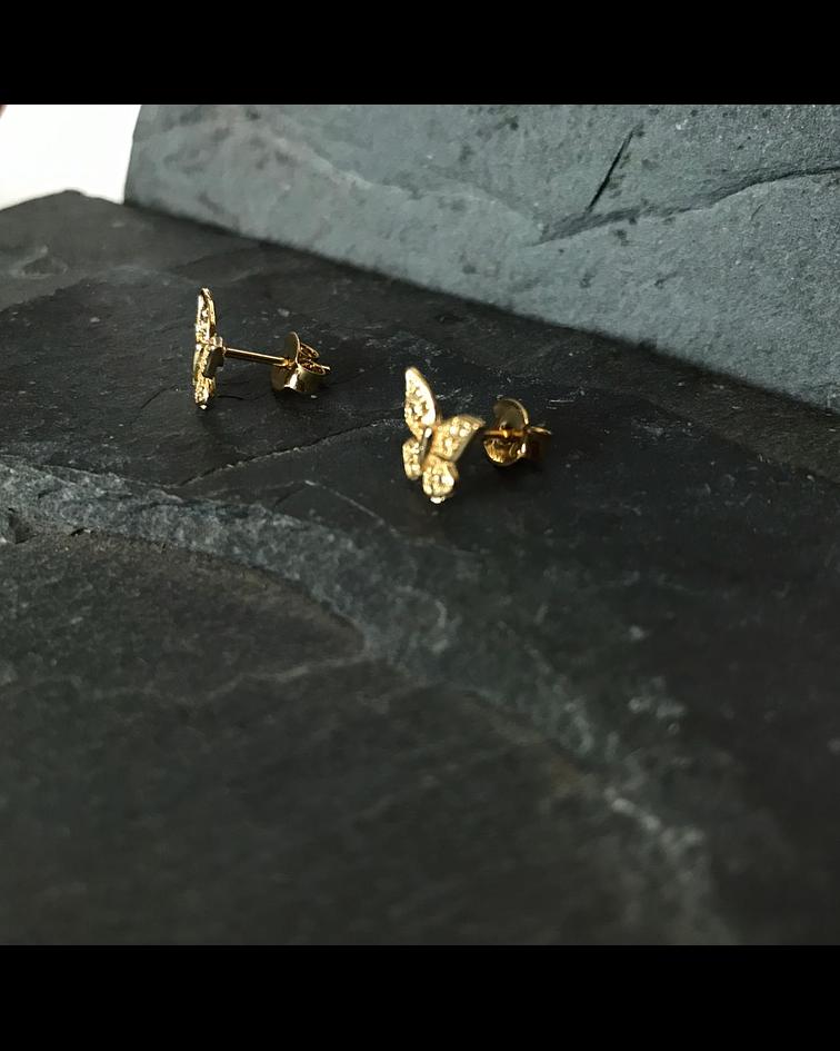 Aros Mini Mariposa en enchape 18k