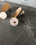 Aros con Base de Enchape con cuarzo rosa