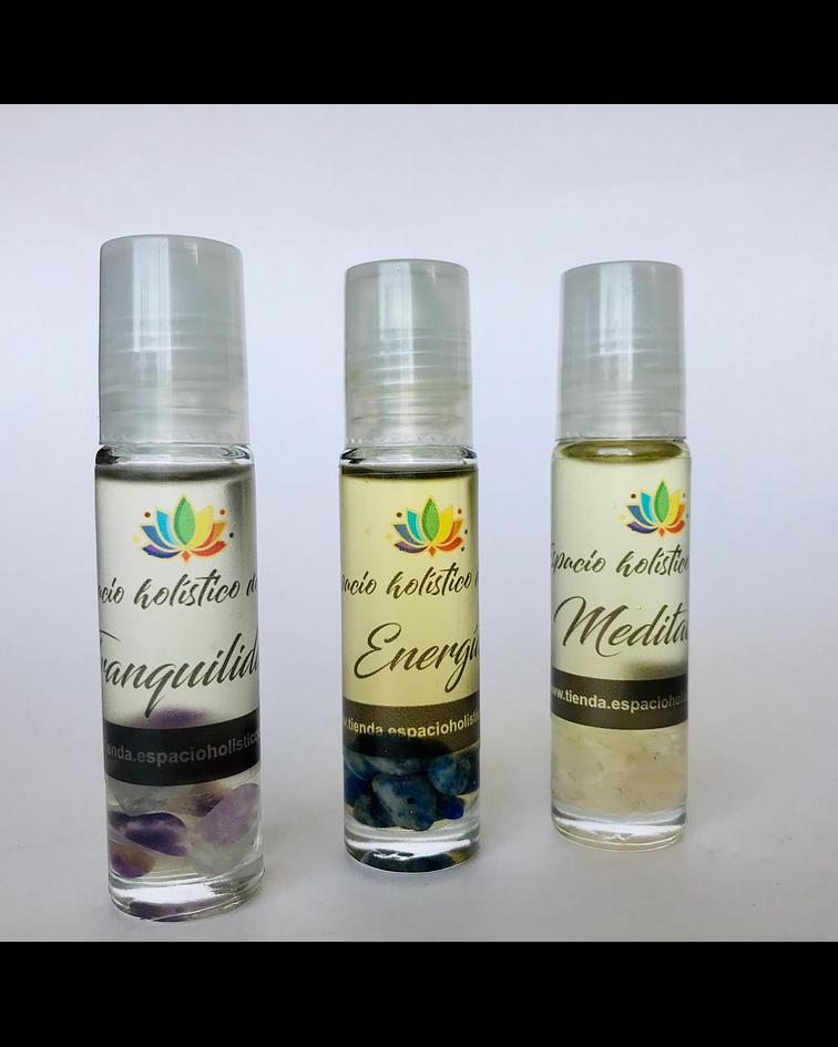 Set de Elixir para aroma-terapia en formato Roll-On  Meditación, Tranquilidad  y Energía para Regalo
