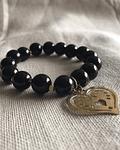 Pulsera piedra natural de  Onix Negro con dije de corazón