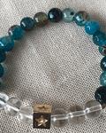 Pulsera Ágatas color Turquesa con Cuarzo Transparente con separador de estrella