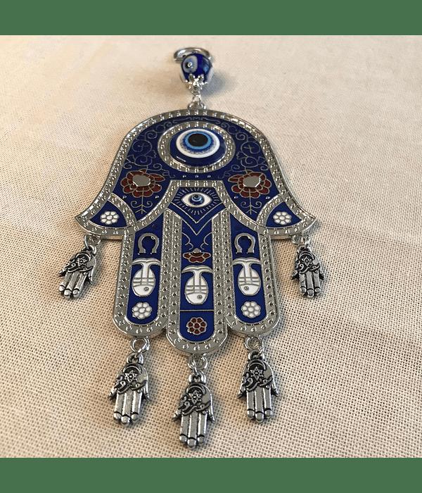 Colgante protecctor de Mano de Fatima Azul