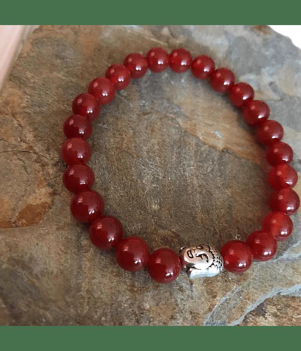 Pulsera de Piedras Naturales de Cornalina con Dije de Buda