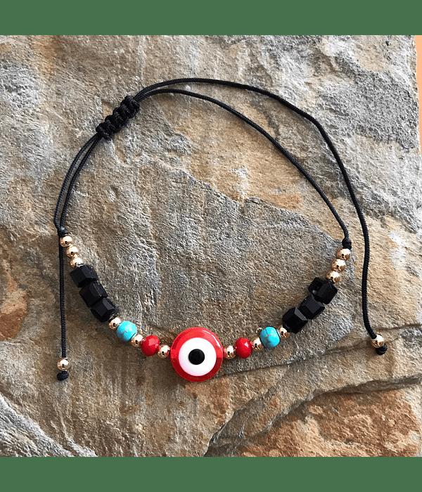 Pulsera Hilo Negro Ajustable con ojo turco rojo