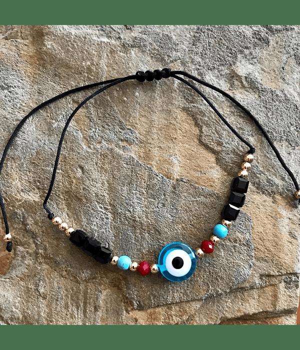 Pulsera Hilo Negro Ajustable con ojo Turco Color Turquesa