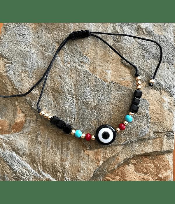 Pulsera Hilo Negro Ajustable con ojo Turco Color Turquesa de piedras onix y howlita