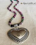 Collar Ágatas Rosadas y verdes con Dije de Gran Corazón
