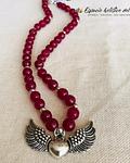 Collar Ágatas Rosadas con Dije de Corazón Alado