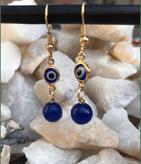Aros de enchape con  Ojo Turco y agata Azul