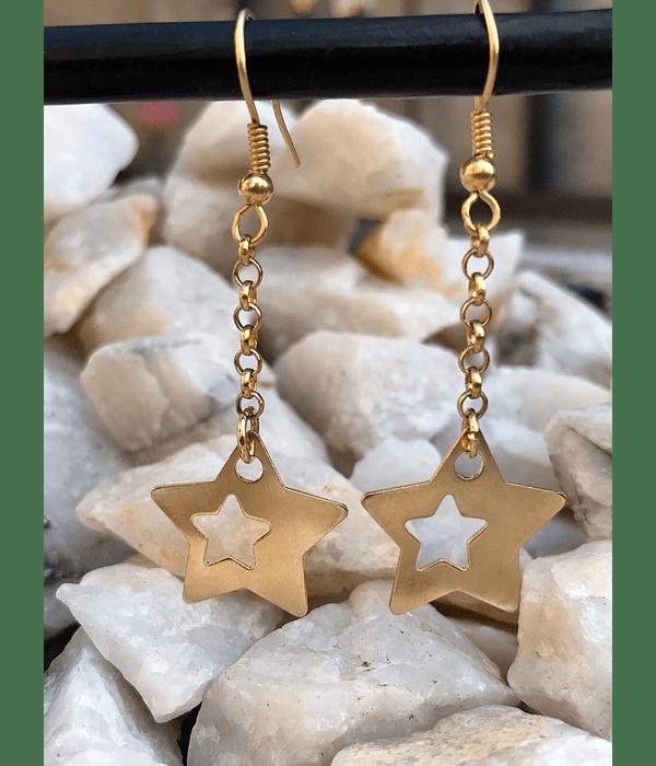 Aros largos de enchape de Estrellas