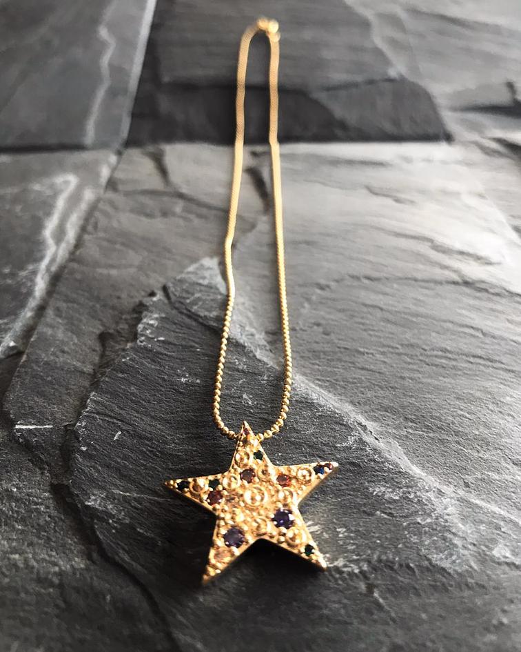 Cadena de Enchape con dije de Estrella con Micro zirconia