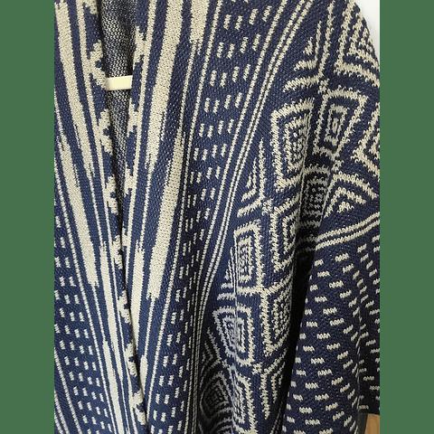 Ruana jackard azul