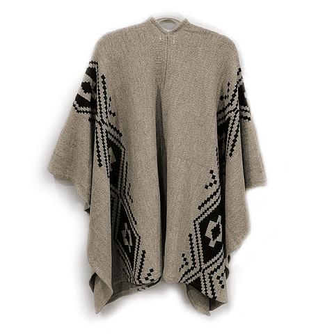 Ruana étnica beige con aplicaciones en negro