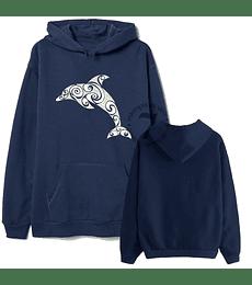 Poleron Canguro Mandala De Delfin