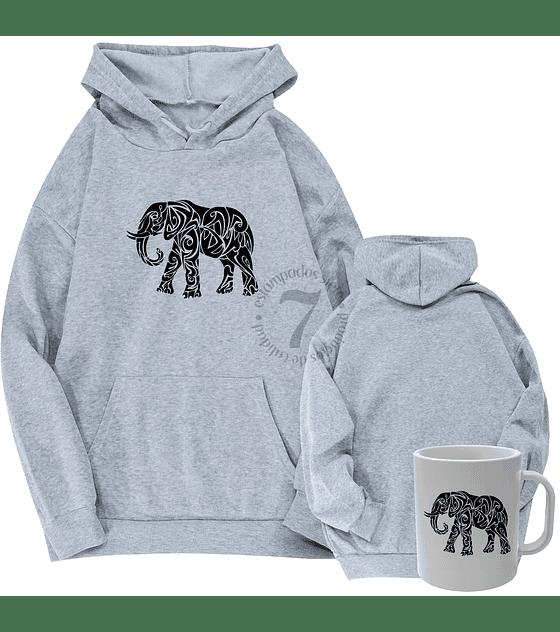Poleron Canguro  Elefante Tribal  Con Taza