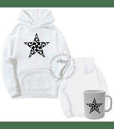 Poleron Canguro Estrella Tribal  Con Taza