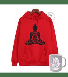 Poleron Canguro Mandala De Buda Con Taza