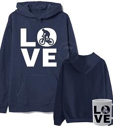 Poleron Canguro Love Bici Con Taza