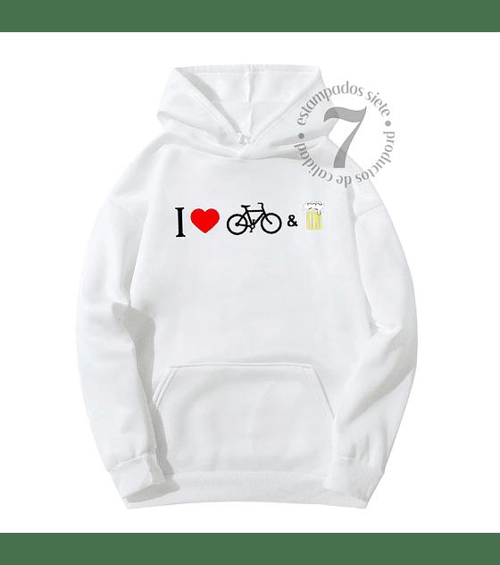 Poleron Canguro Yo Amo La Bicicleta & La Cerveza