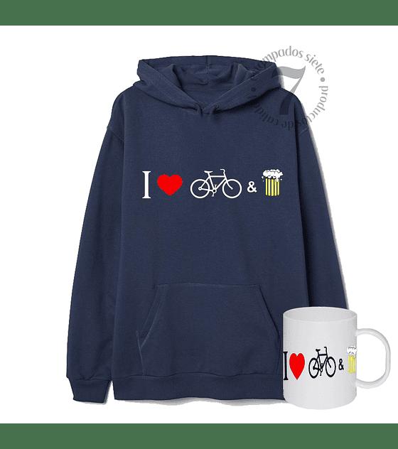 Poleron Canguro Yo Amo La Bicicleta & La Cerveza Con Taza