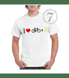 Polera Manga Corta  Yo Amo La Bicicleta & La Cerveza