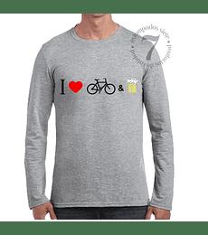 Polera Manga Larga Yo Amo La Bicicleta & La Cerveza