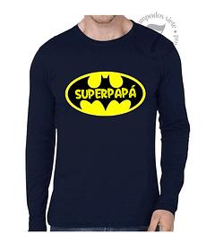 Polera Manga Larga Batman Superpapá