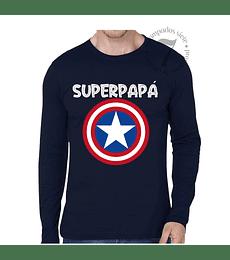Polera Manga Larga Capitan America Superpapá