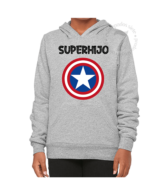 Poleron Canguro Capitan America Superhija/o Niñas/Niños/Jovenes