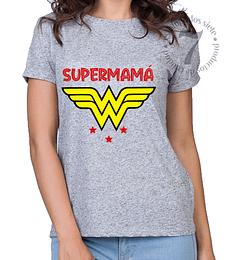 Polera Manga Corta Dama Mujer Maravilla Supermamá
