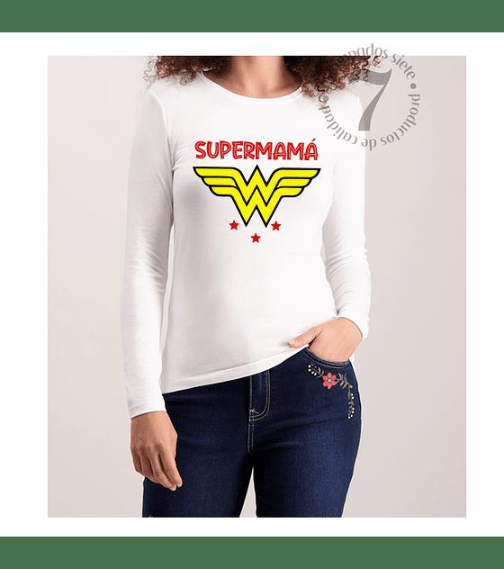 Polera Manga Larga Dama Mujer Maravilla Supermamá