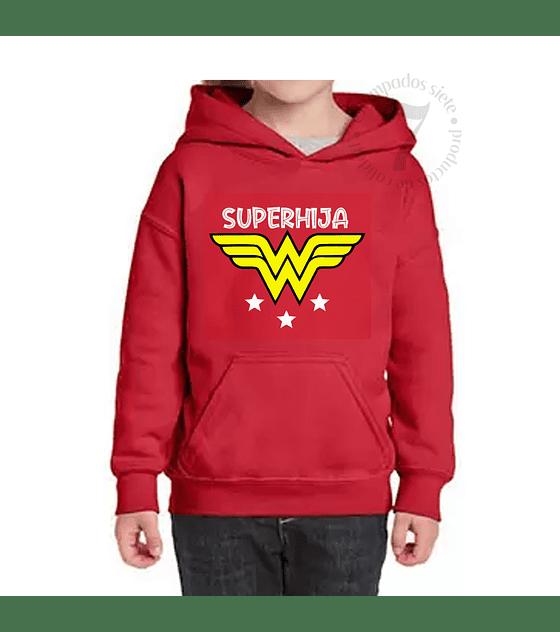 Poleron Canguro Mujer Maravilla Supermamá  Niñas/Niños/Jovenes