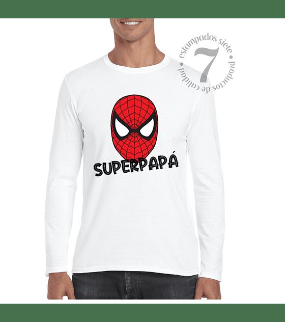 Polera Manga Larga Spiderman Superpapá