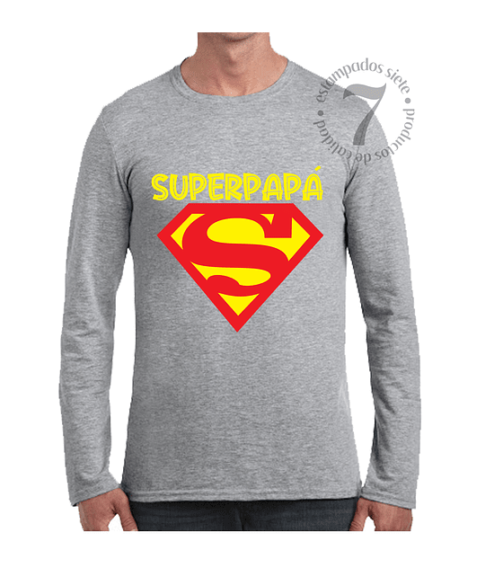 Polera Manga Larga Superman Superpapá