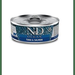 N&D Ocean Lata Atún y Salmon 80 gr