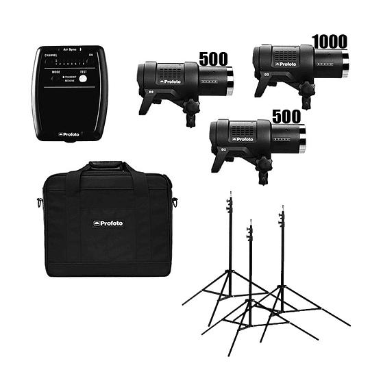 Arriendo de Kit de flash Profoto (1000,500,500-AR) 3 unidades D2 2000 w/s totales con Air Sync/Air Remote