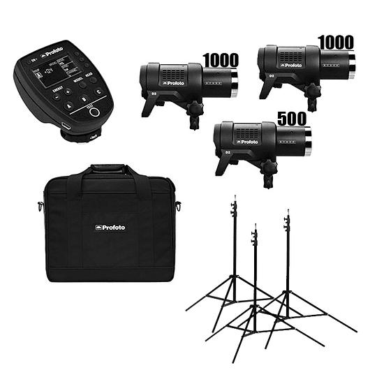 Arriendo de Kit de flash Profoto (1000,1000,500-TTL) 3 unidades D2 2500 w/s totales con Air Remote TTL