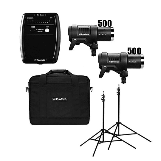Arriendo de Kit de flash Profoto (500,500-AR) 2 unidades D2 1000 w/s totales con Air Sync/Air Remote
