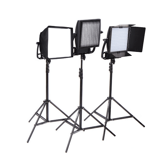 Arriendo de Kit de 3 Unidades Led Litepanels Astra Bicolor Con Accesorios B: caja, grid y aletas