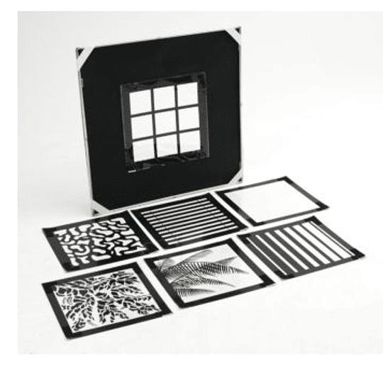 Arriendo de Kit de Marco Chimera Pro Panel 42x42 con Juego de 7 Máscaras Chimera Window Pattern (100x100cm)